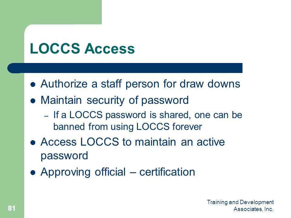 LOCCS Access Authorize a staff person for draw downs
