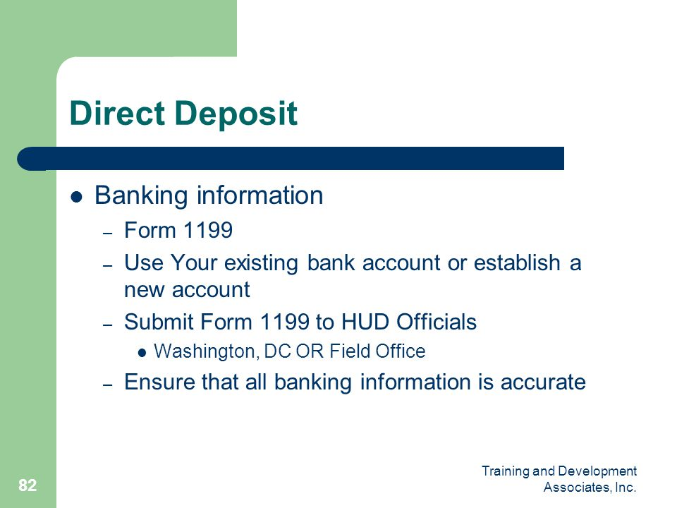 Direct Deposit Banking information Form 1199
