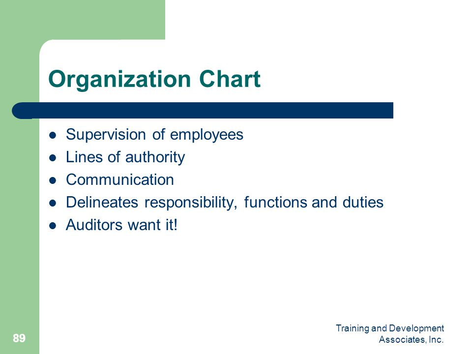 Organization Chart Supervision of employees Lines of authority