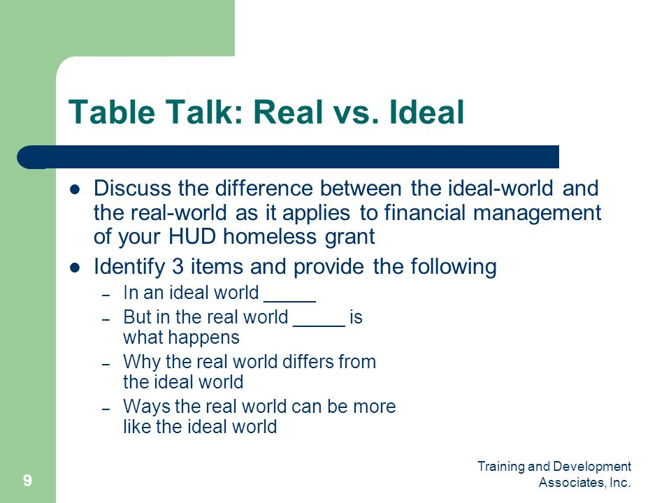 Table Talk: Real vs. Ideal