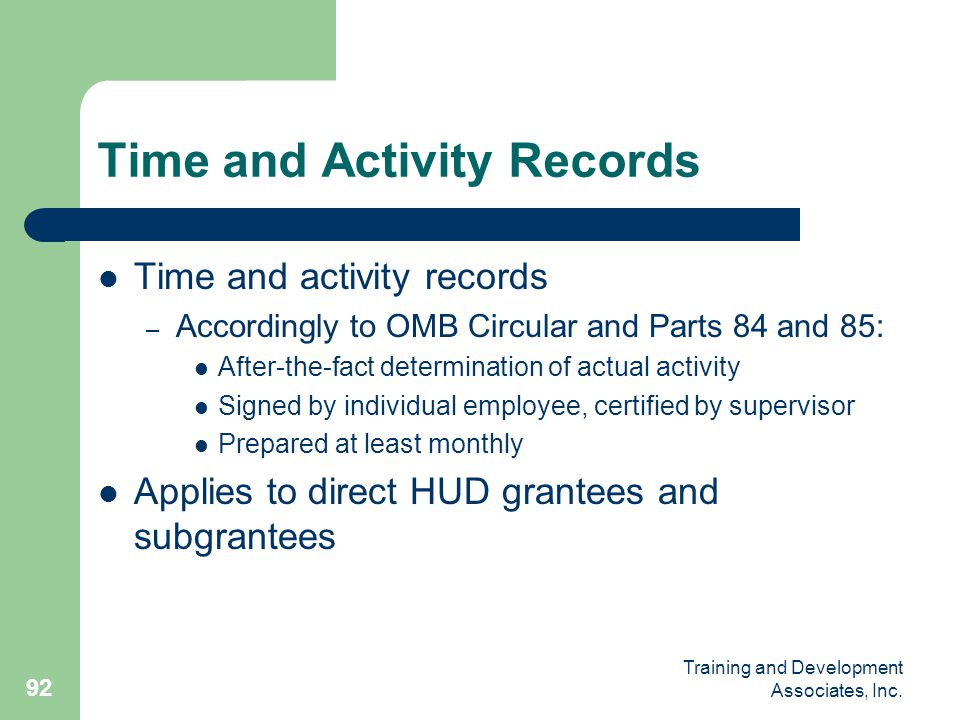 Time and Activity Records