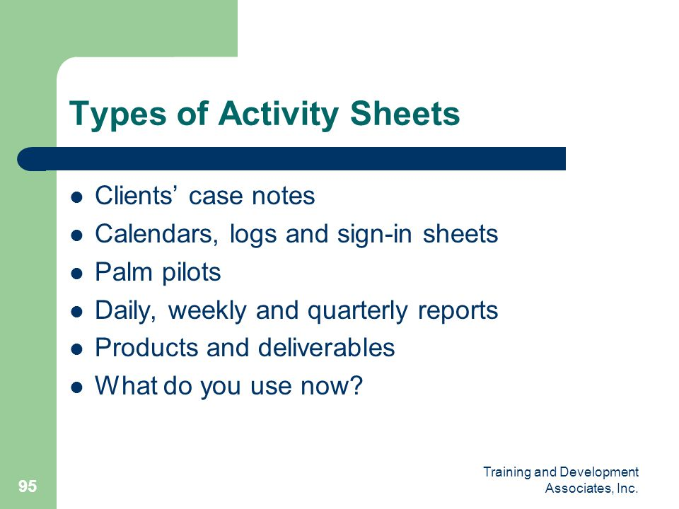 Types of Activity Sheets