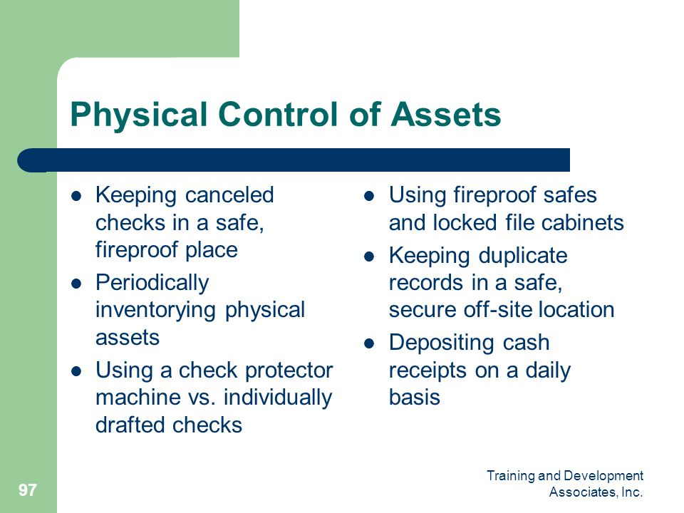Physical Control of Assets