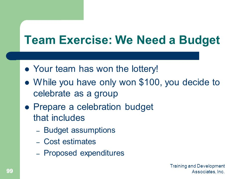 Team Exercise: We Need a Budget
