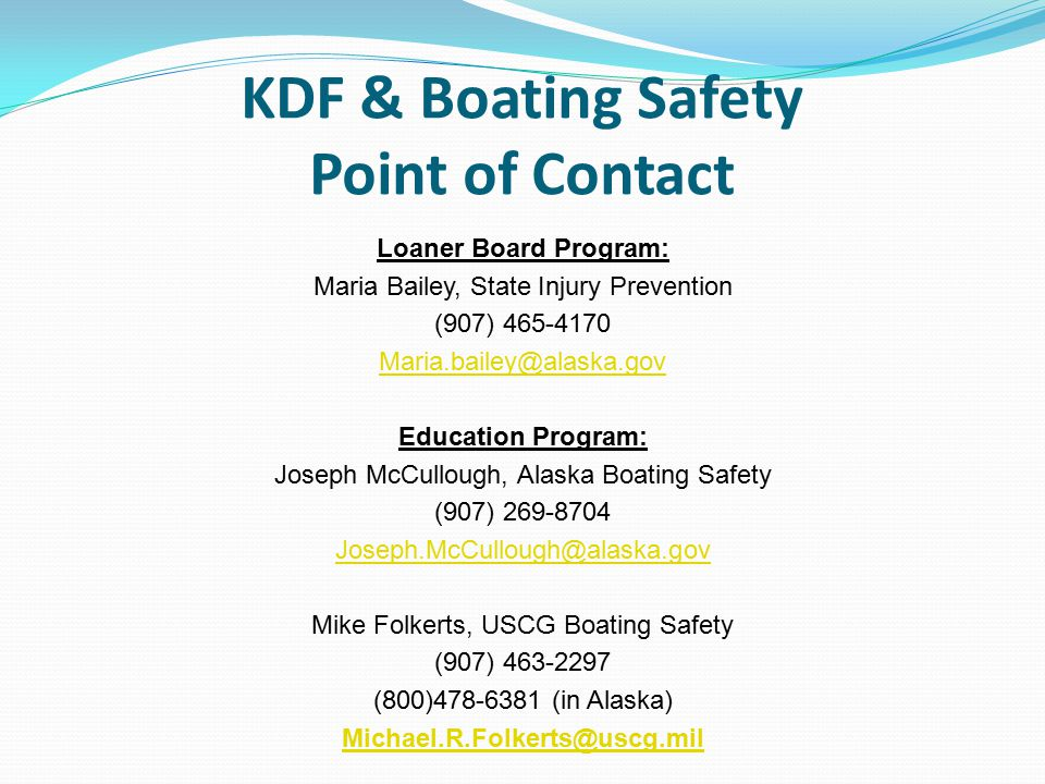 KDF & Boating Safety Point of Contact