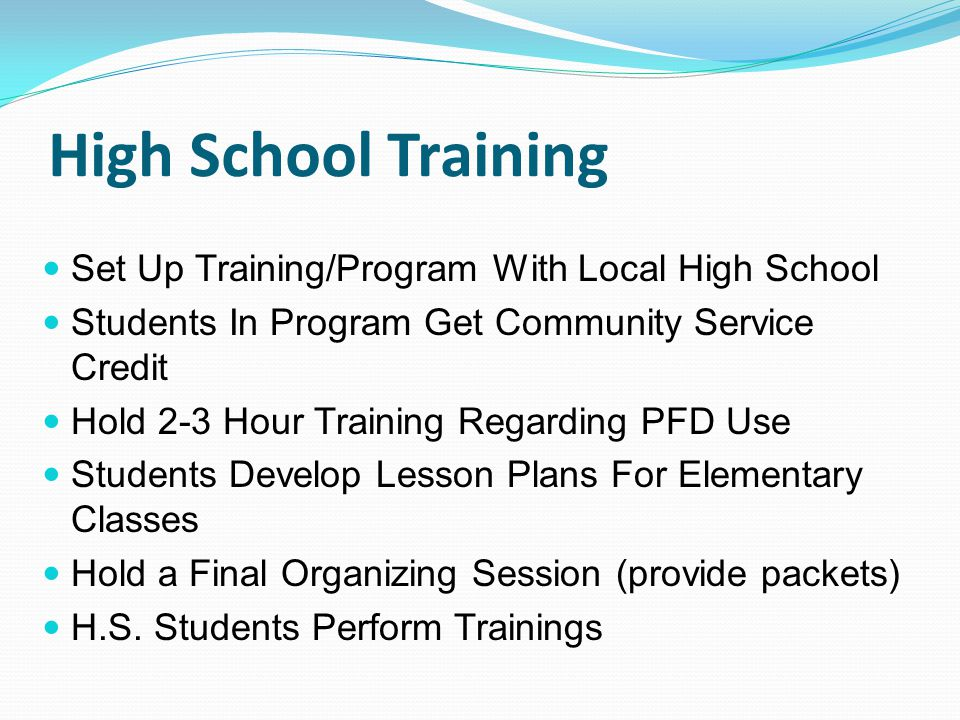 High School Training Set Up Training/Program With Local High School