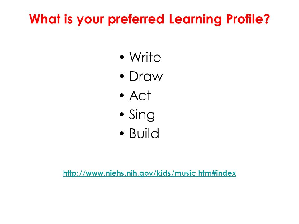 What is your preferred Learning Profile