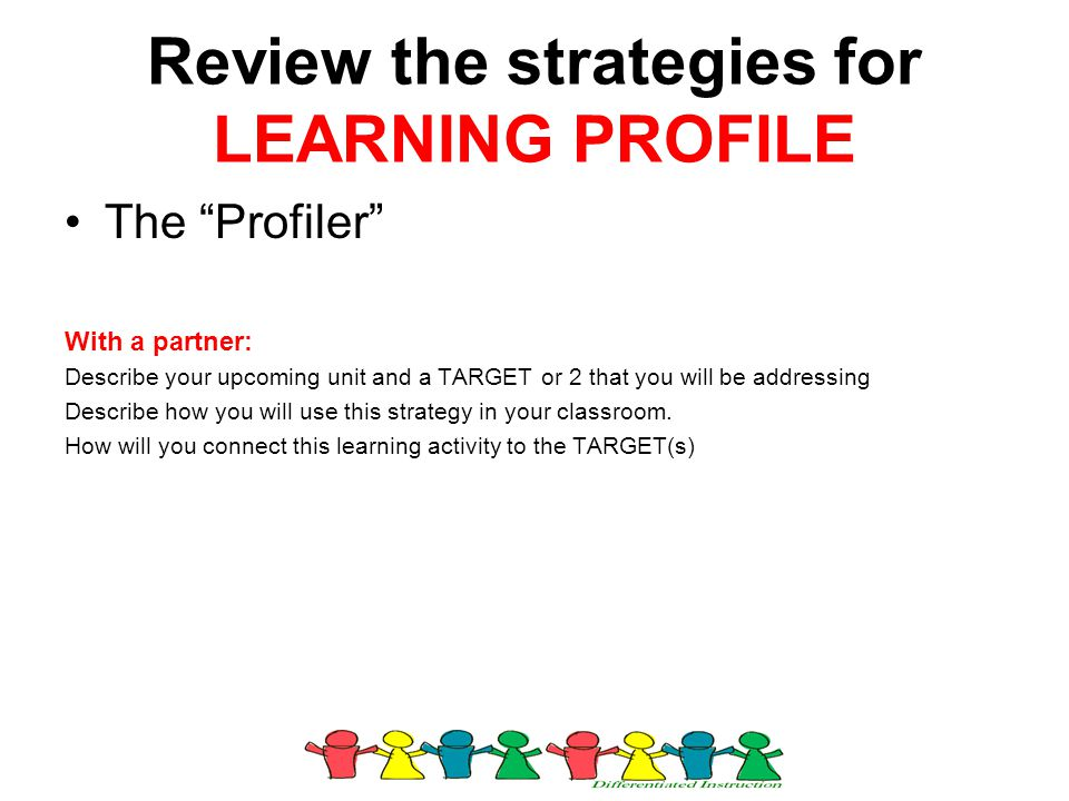 Review the strategies for LEARNING PROFILE