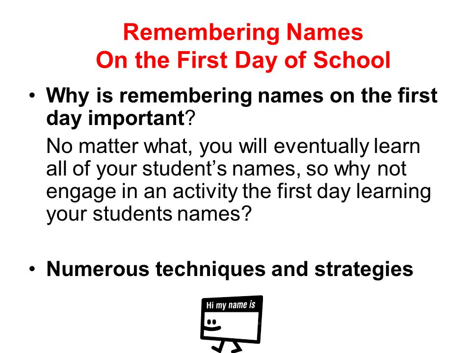 Remembering Names On the First Day of School