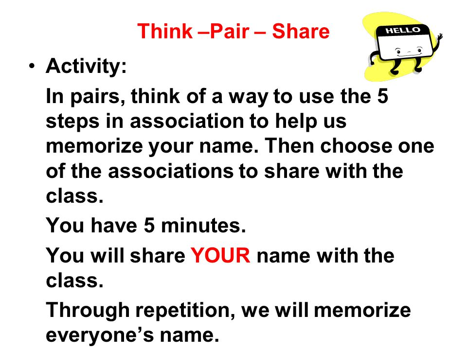 Think –Pair – Share Activity: