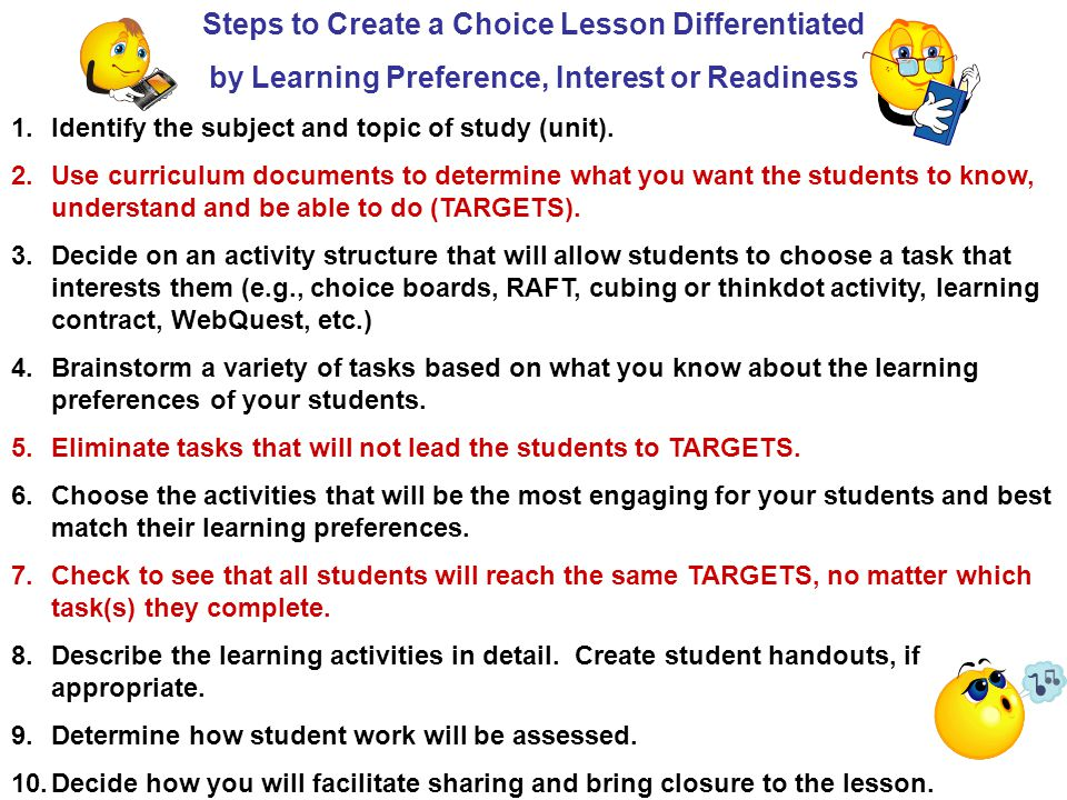 Steps to Create a Choice Lesson Differentiated