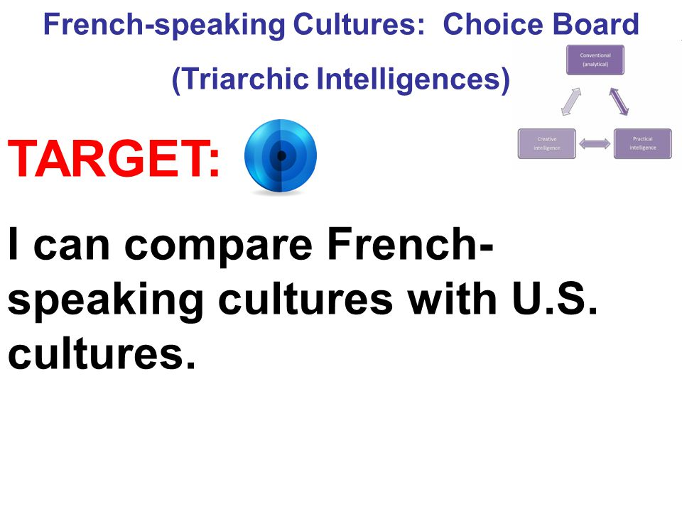French-speaking Cultures: Choice Board (Triarchic Intelligences)