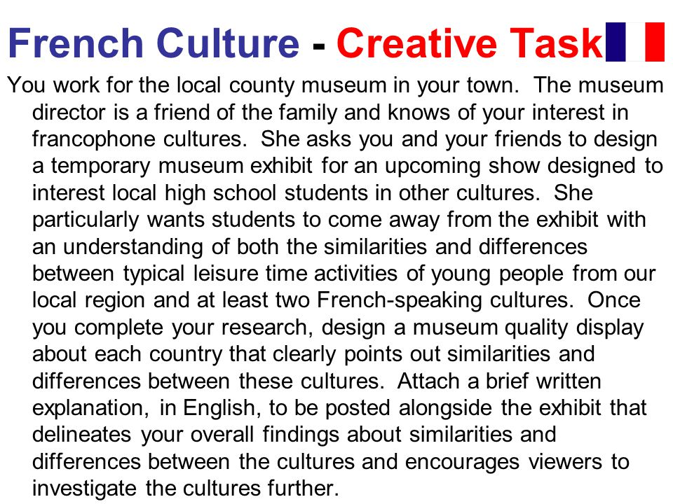 French Culture - Creative Task