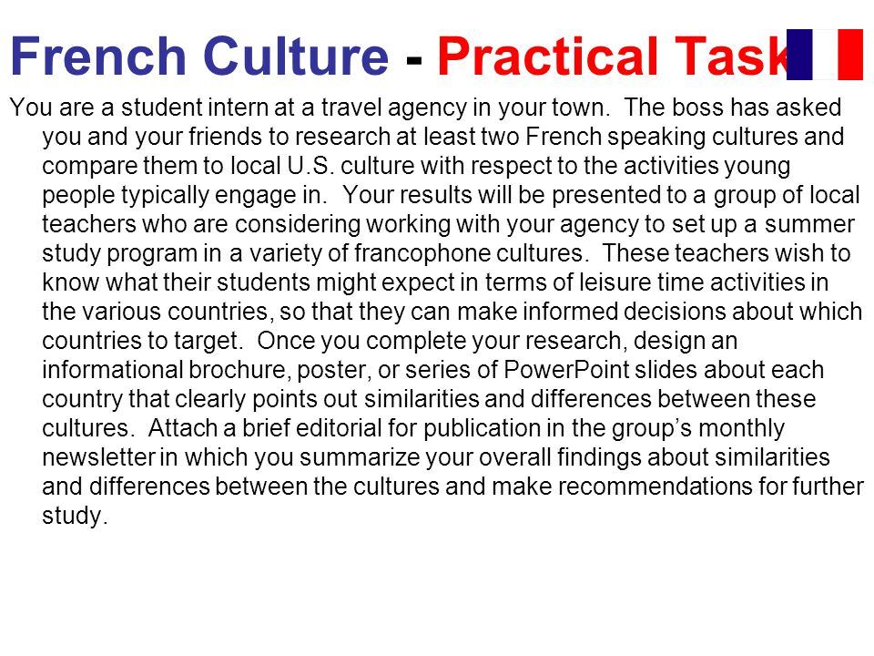 French Culture - Practical Task
