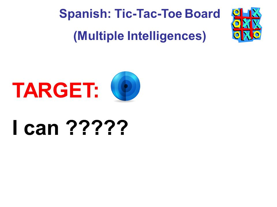 Spanish: Tic-Tac-Toe Board (Multiple Intelligences)
