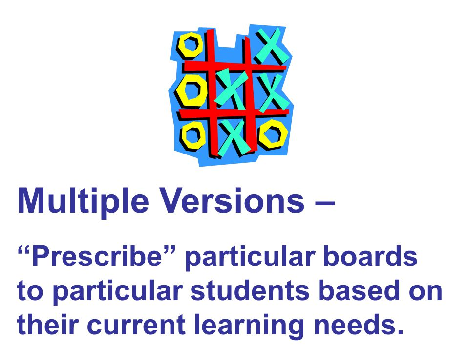 Multiple Versions – Prescribe particular boards to particular students based on their current learning needs.