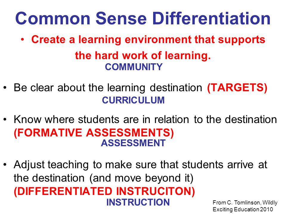 Common Sense Differentiation