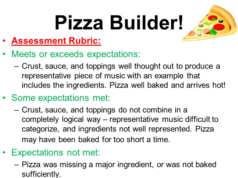 Pizza Builder! Assessment Rubric: Meets or exceeds expectations: