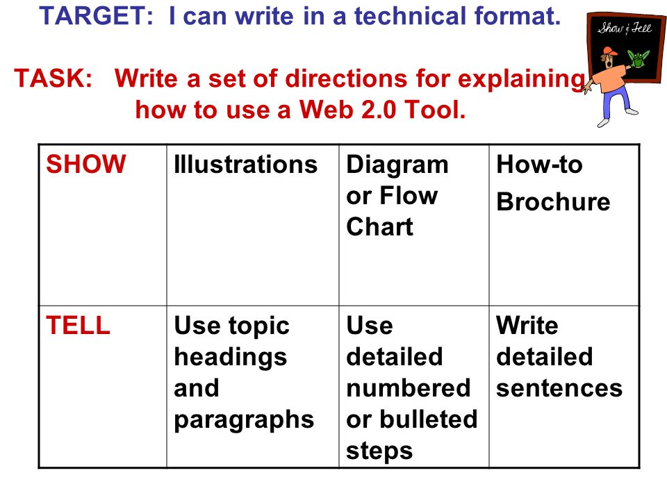 TARGET: I can write in a technical format