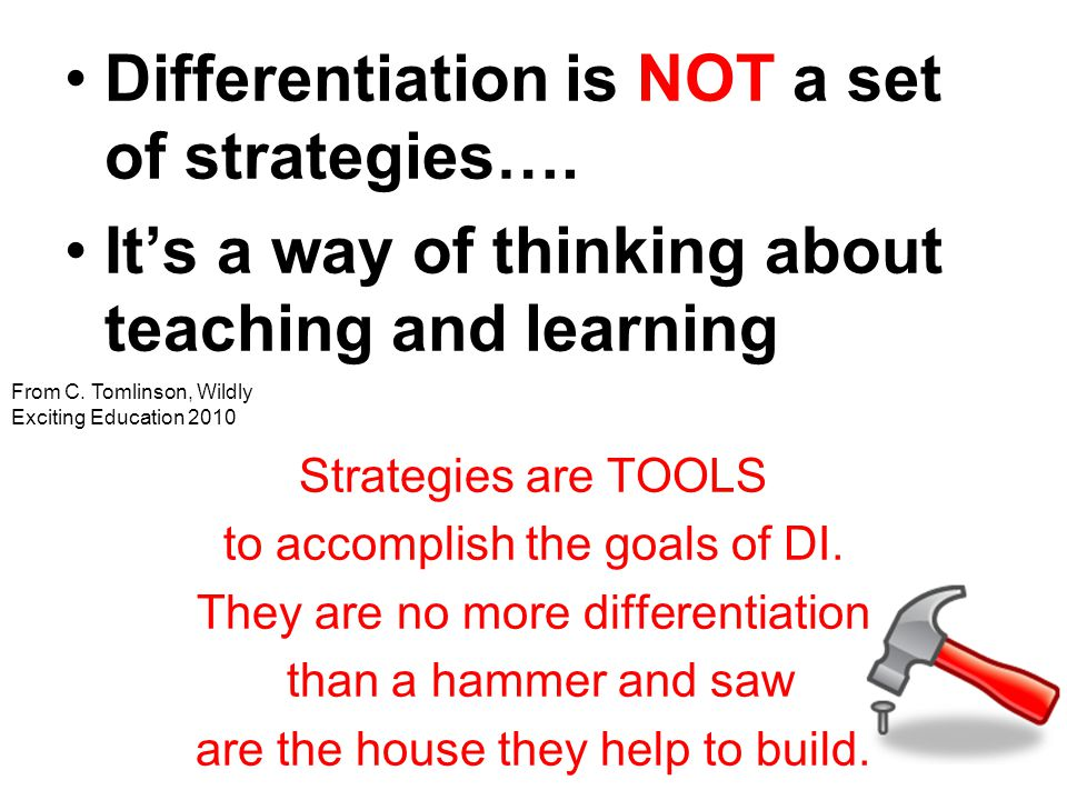 Differentiation is NOT a set of strategies….