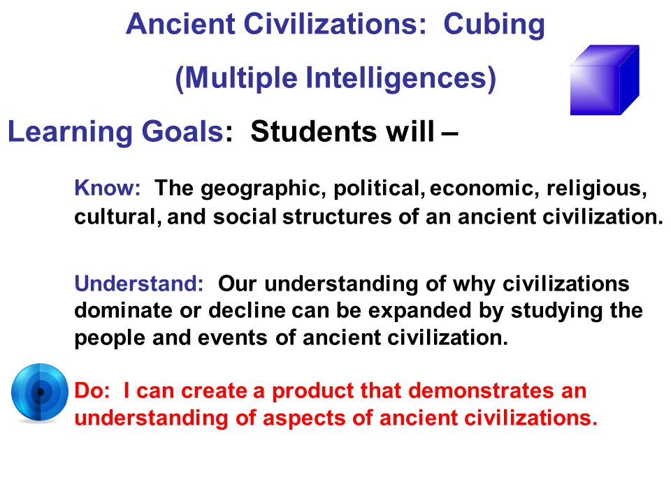 Ancient Civilizations: Cubing (Multiple Intelligences)