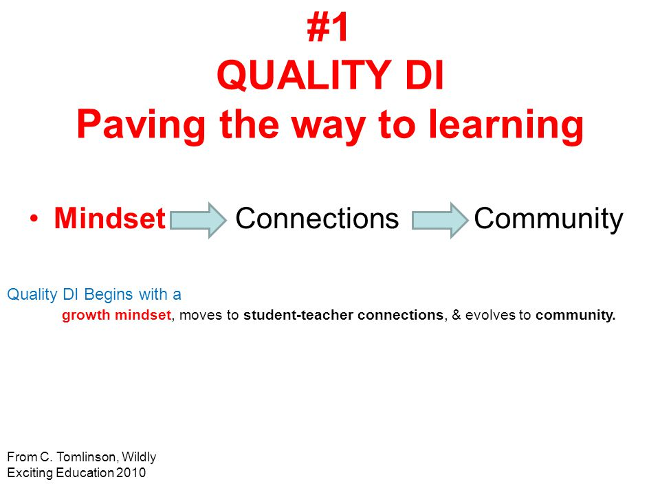 #1 QUALITY DI Paving the way to learning