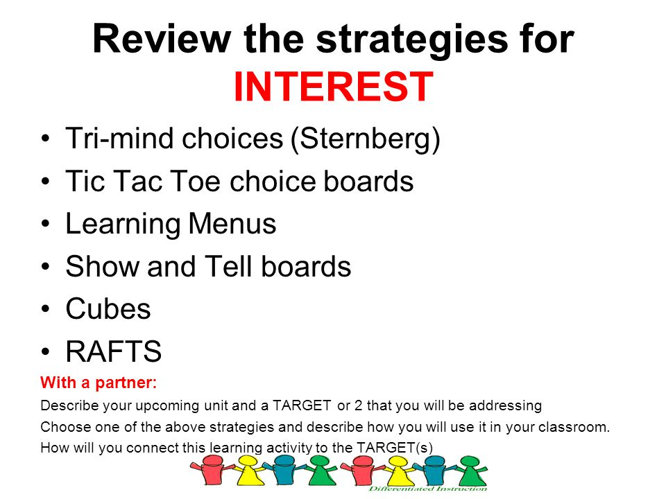 Review the strategies for INTEREST