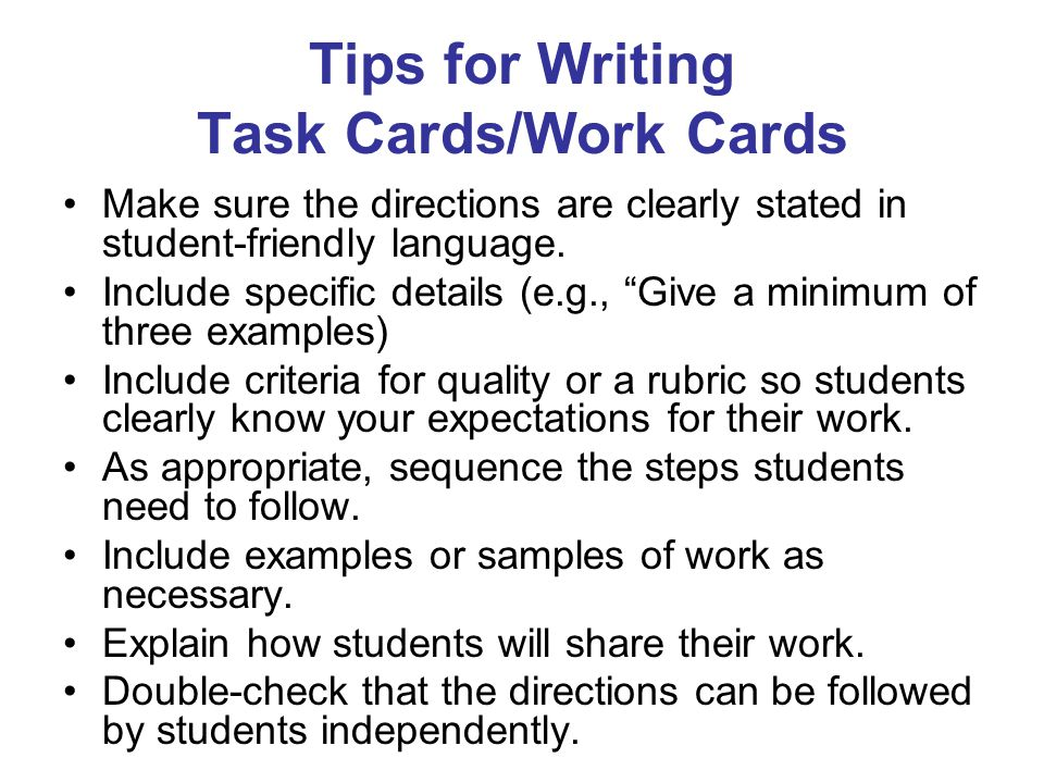 Tips for Writing Task Cards/Work Cards