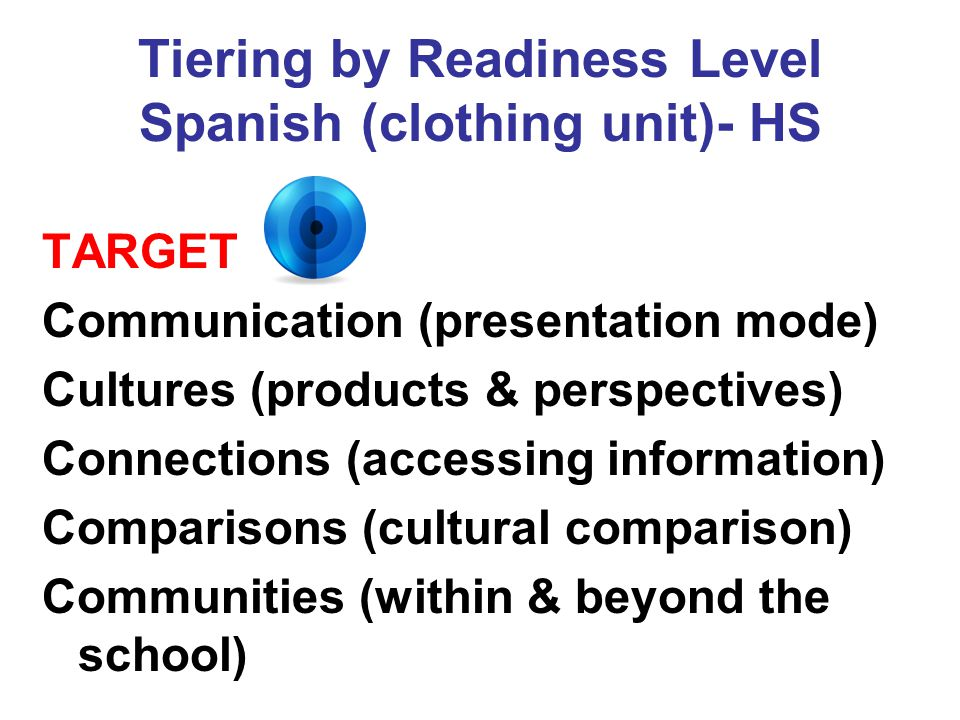 Tiering by Readiness Level Spanish (clothing unit)- HS