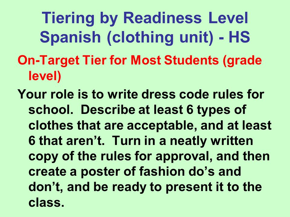 Tiering by Readiness Level Spanish (clothing unit) - HS