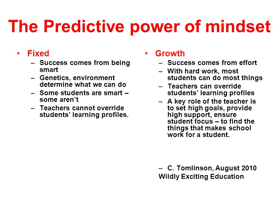 The Predictive power of mindset