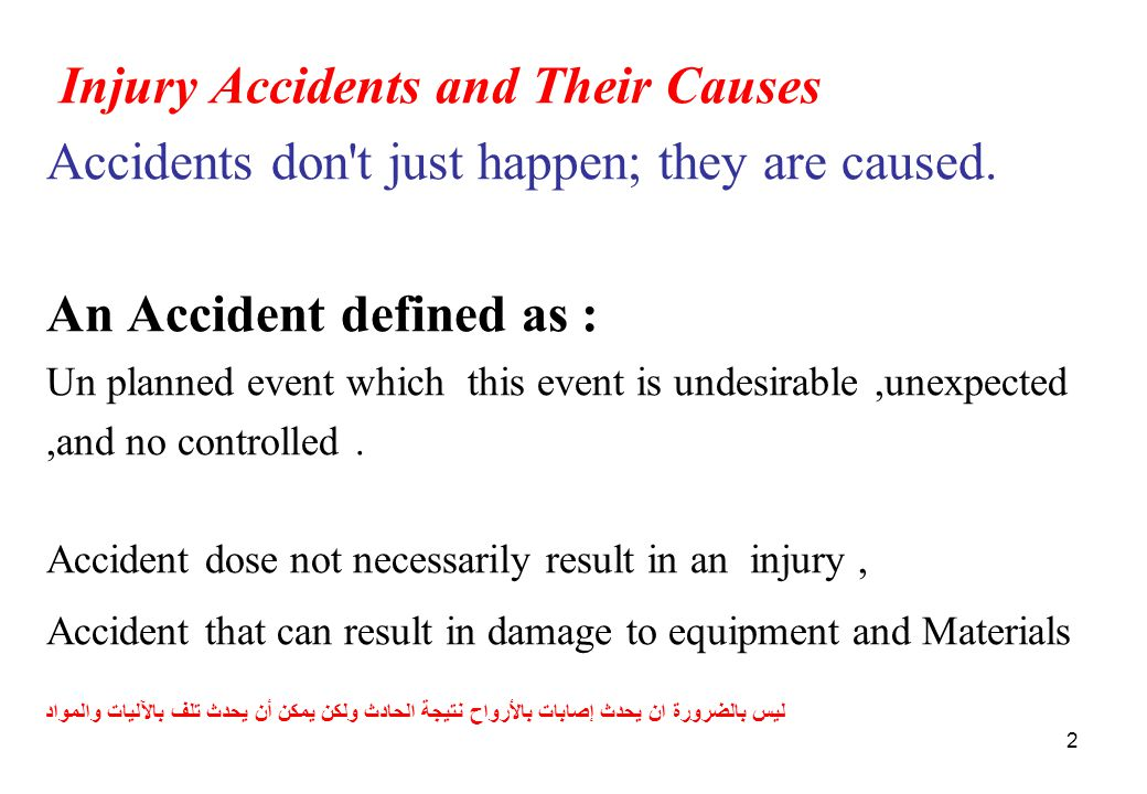 Injury Accidents and Their Causes Accidents don t just happen; they are caused.