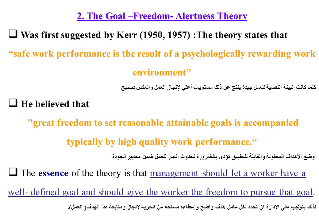 2. The Goal –Freedom- Alertness Theory
