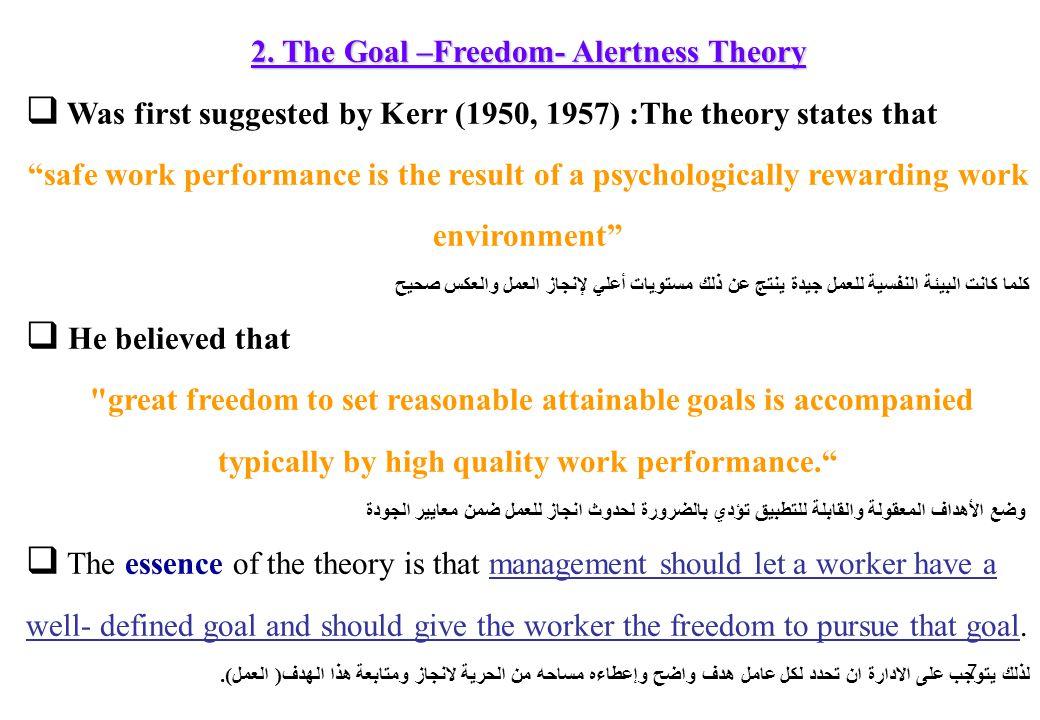 2. The Goal –Freedom- Alertness Theory