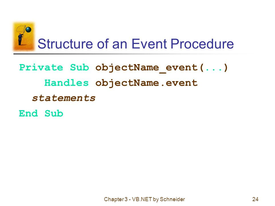 Structure of an Event Procedure