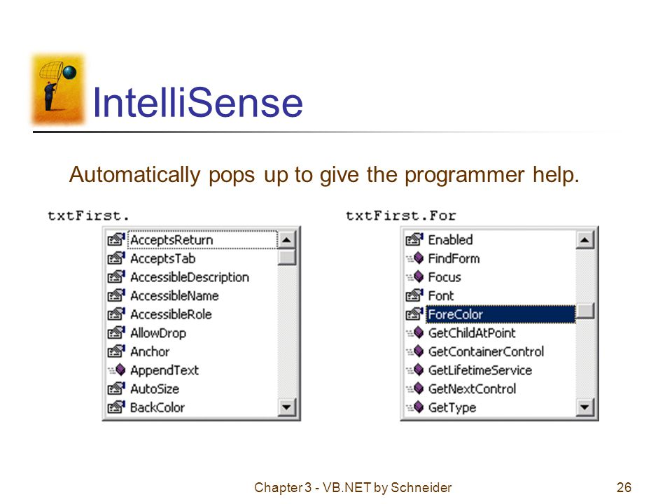IntelliSense Automatically pops up to give the programmer help.