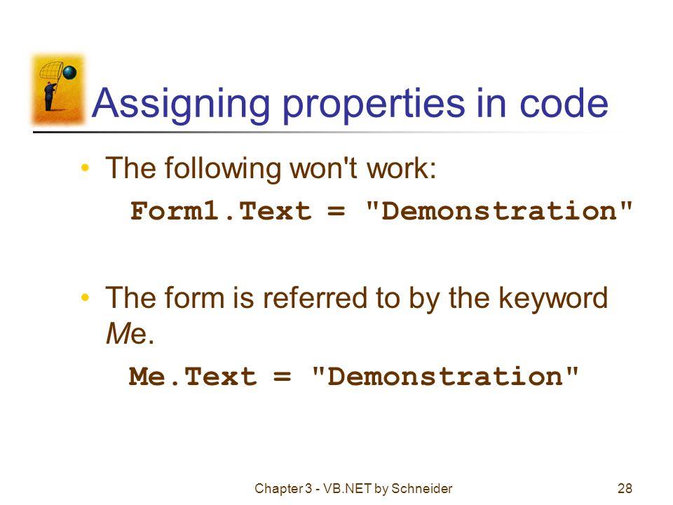 Assigning properties in code