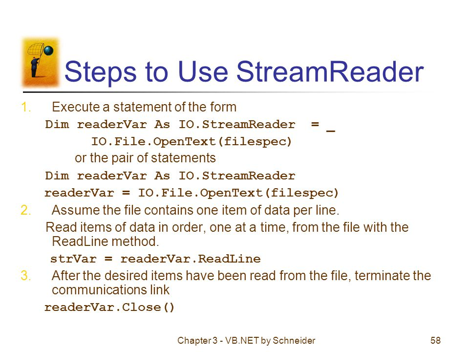 Steps to Use StreamReader