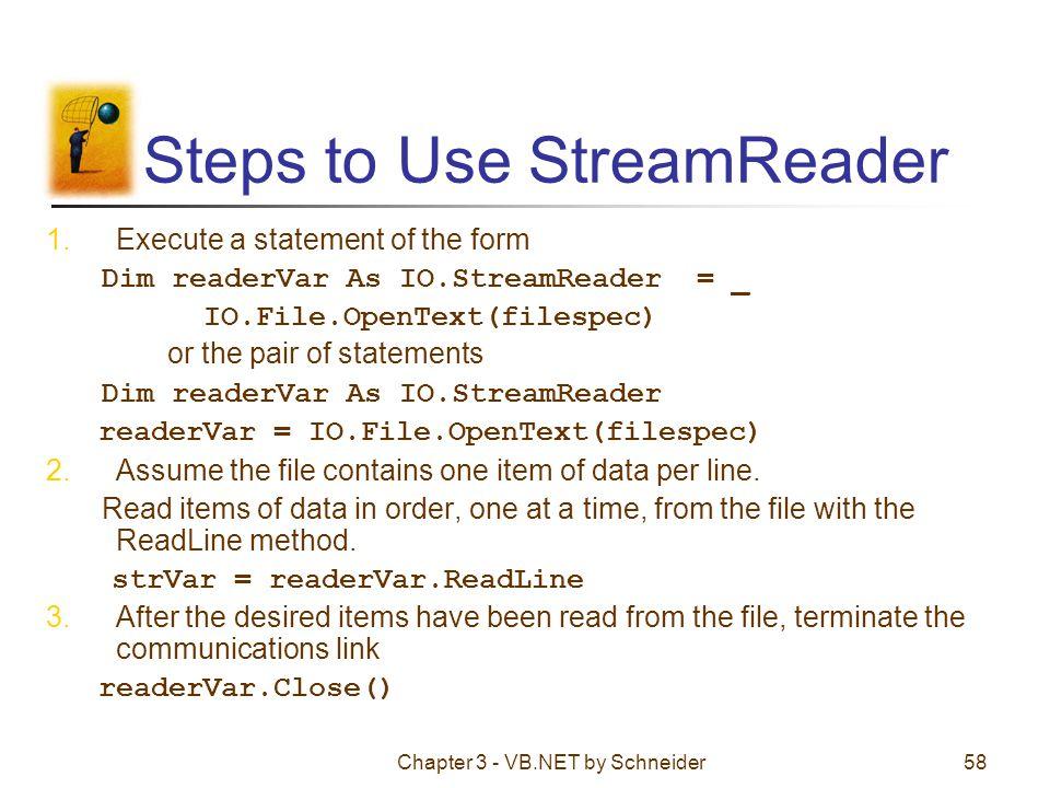 Steps to Use StreamReader