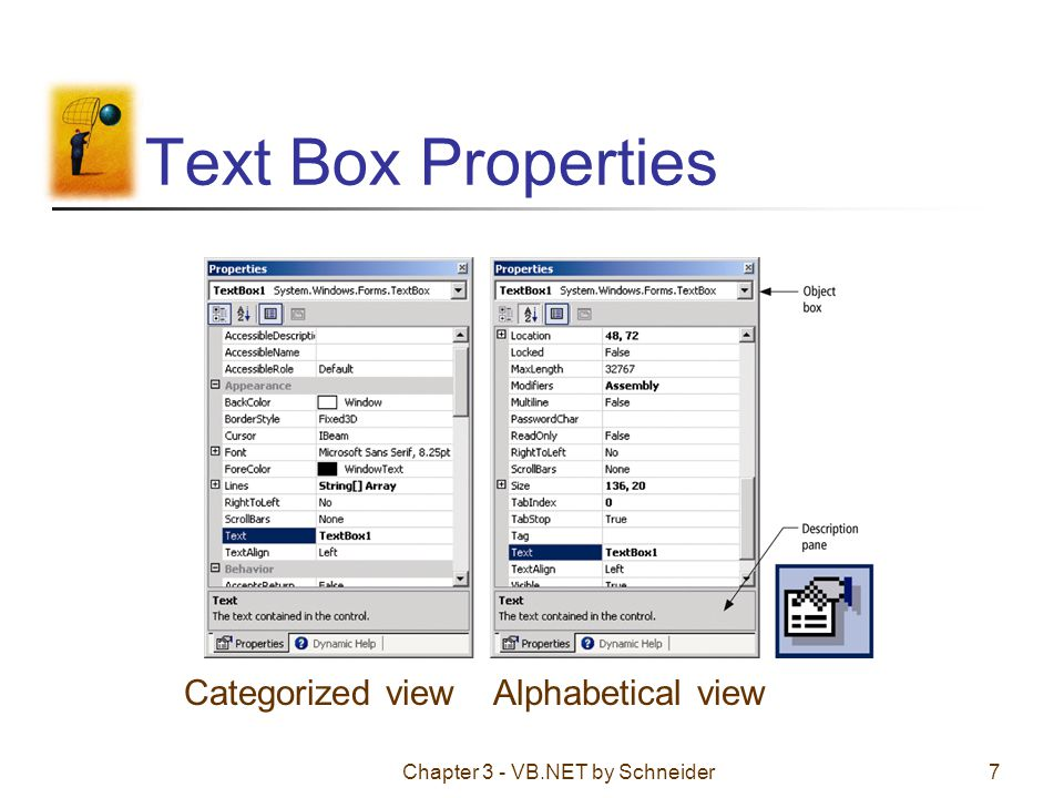 Text Box Properties Categorized view Alphabetical view