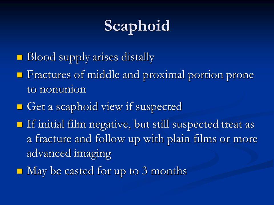 Scaphoid Blood supply arises distally