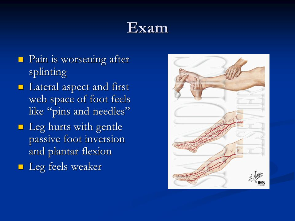Exam Pain is worsening after splinting