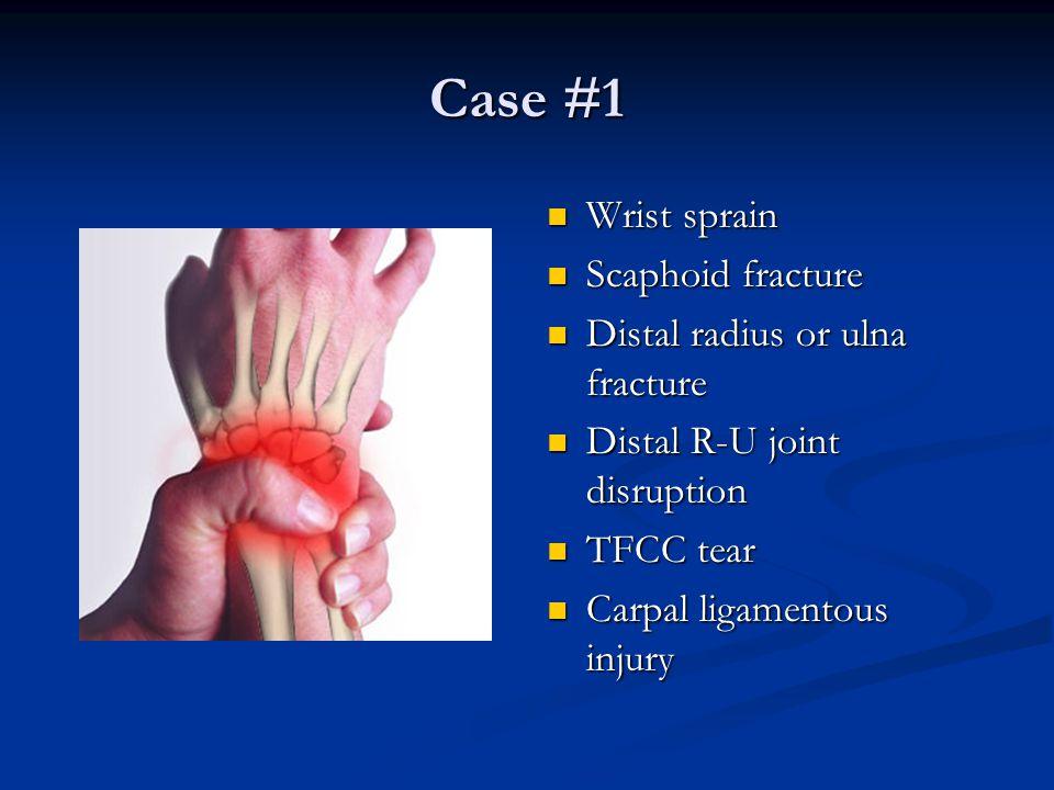 Case #1 Wrist sprain Scaphoid fracture Distal radius or ulna fracture