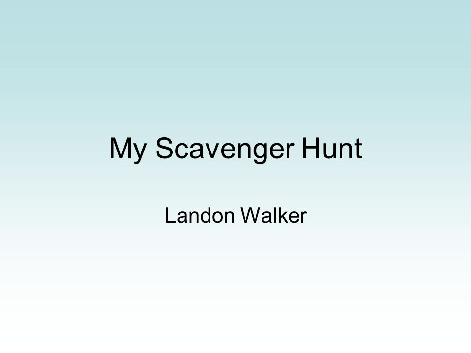 My Scavenger Hunt Landon Walker