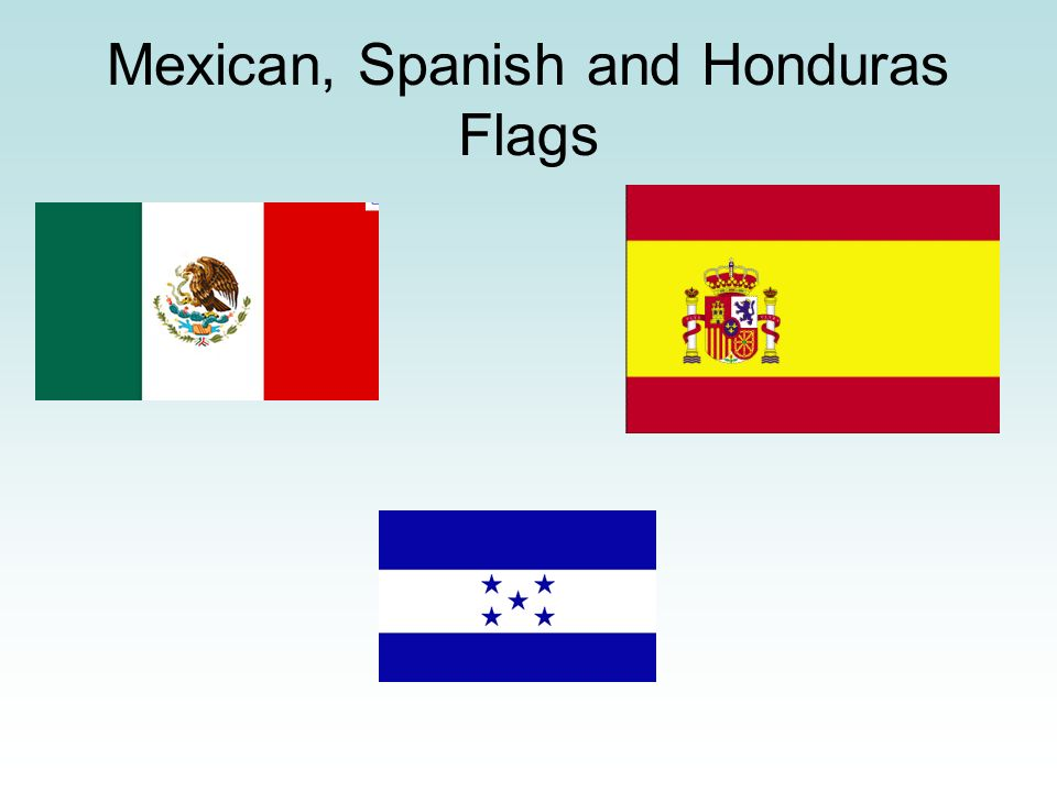 Mexican, Spanish and Honduras Flags