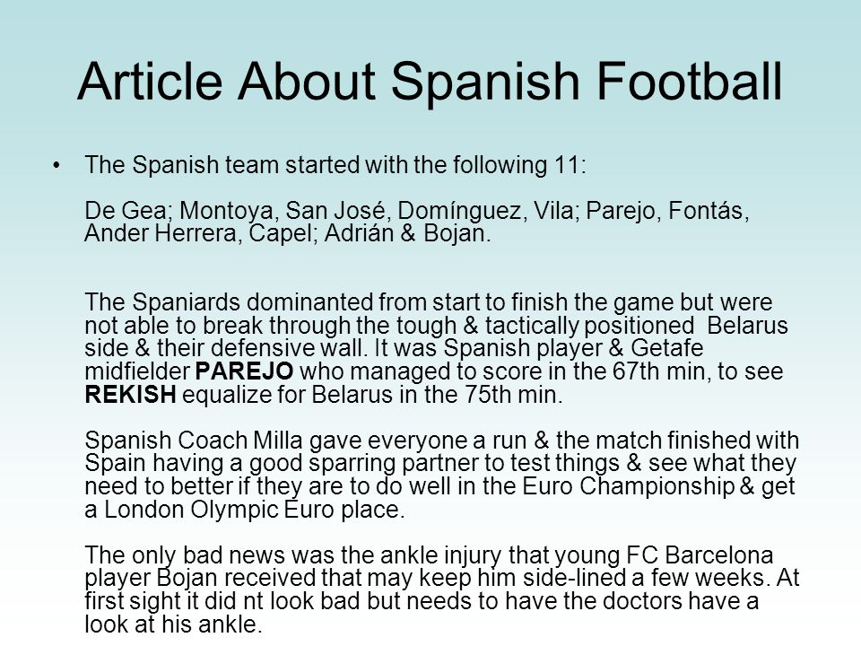 Article About Spanish Football
