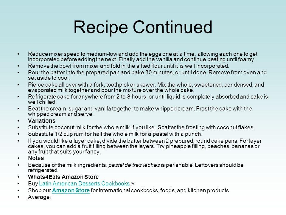 Recipe Continued