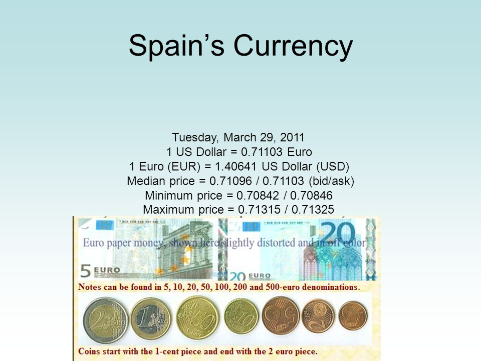 1 US Dollar = 0.71103 Euro 1 Euro (EUR) = 1.40641 US Dollar (USD)