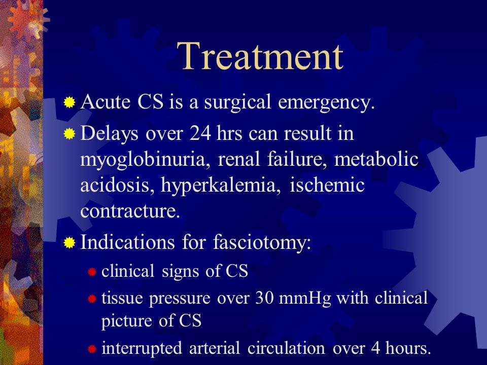 Treatment Acute CS is a surgical emergency.