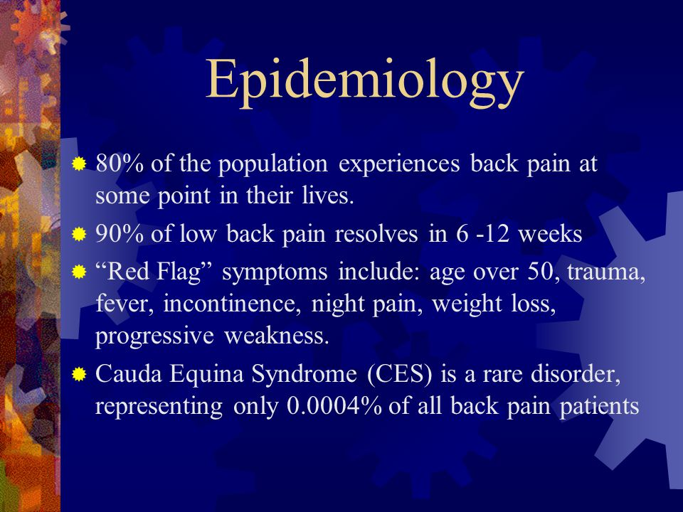 Epidemiology 80% of the population experiences back pain at some point in their lives. 90% of low back pain resolves in 6 -12 weeks.